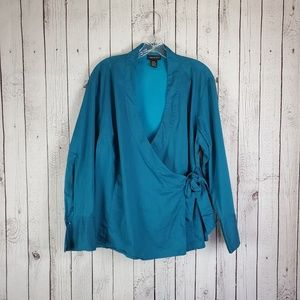 Lane Bryant Blue Wrap Blouse Long Sleeve 14 16